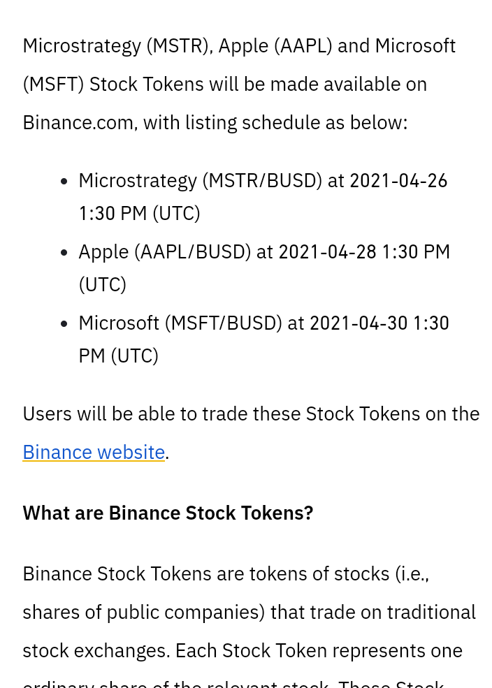 apple and Microsoft will be in Binance listing